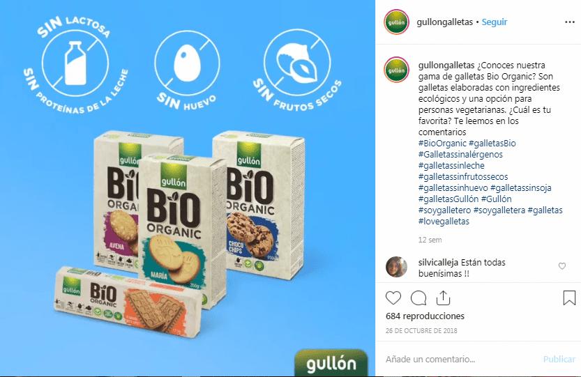 Galletas Gullón, Bio Organic, Instagram